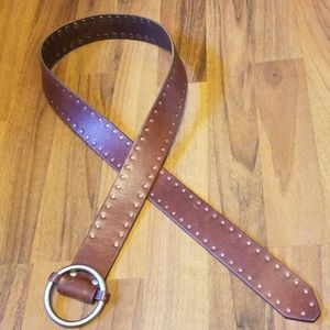 {J. Crew} Brown Leather Belt with Silver Studs